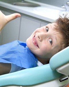 A child at their dental appointment.